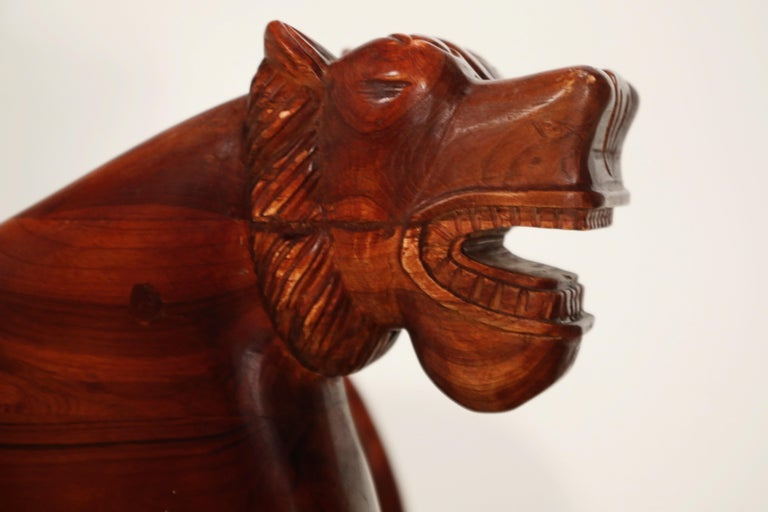 Figural Full Body Carved Teak Wood Lioness Club Chairs, Pair For Sale 10