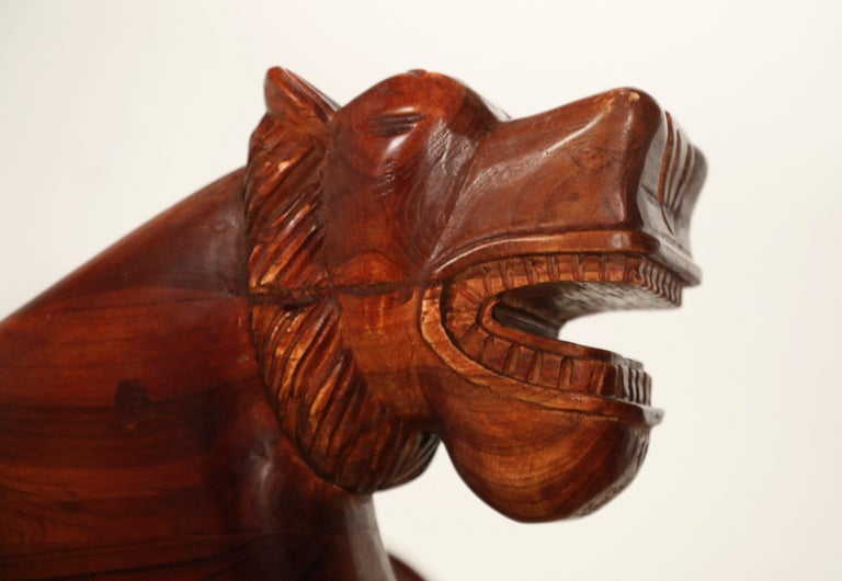 Figural Full Body Carved Teak Wood Lioness Club Chairs, Pair For Sale 11