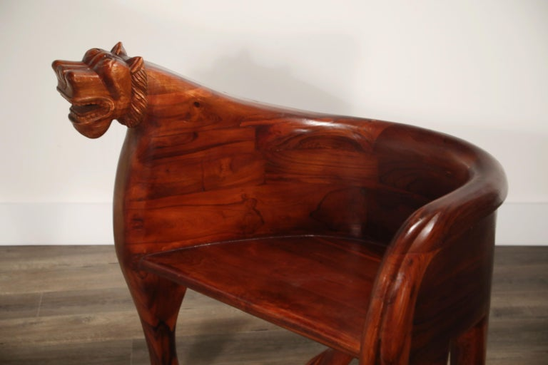 Figural Full Body Carved Teak Wood Lioness Club Chairs, Pair For Sale 13