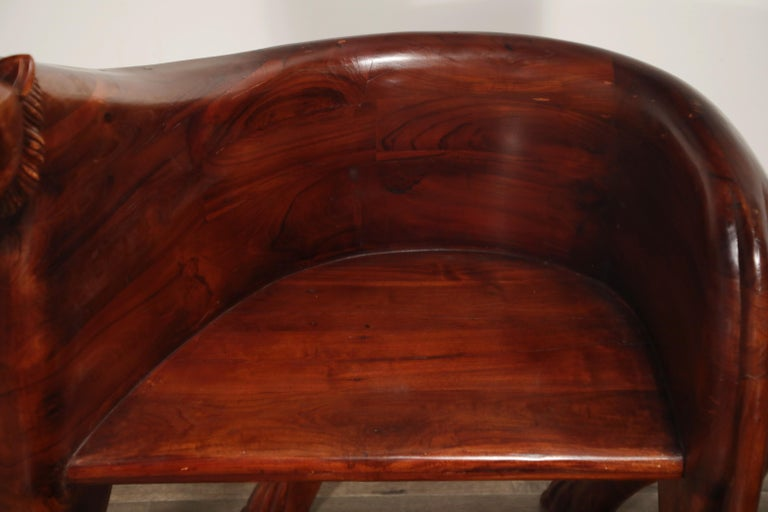 Figural Full Body Carved Teak Wood Lioness Club Chairs, Pair For Sale 14
