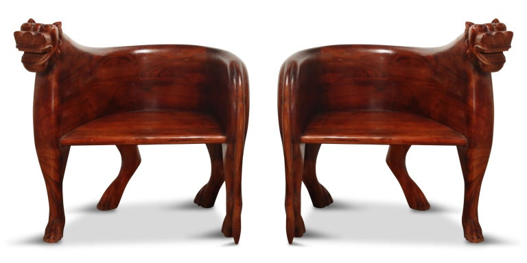 Figural Full Body Carved Teak Wood Lioness Club Chairs, Pair For Sale 15