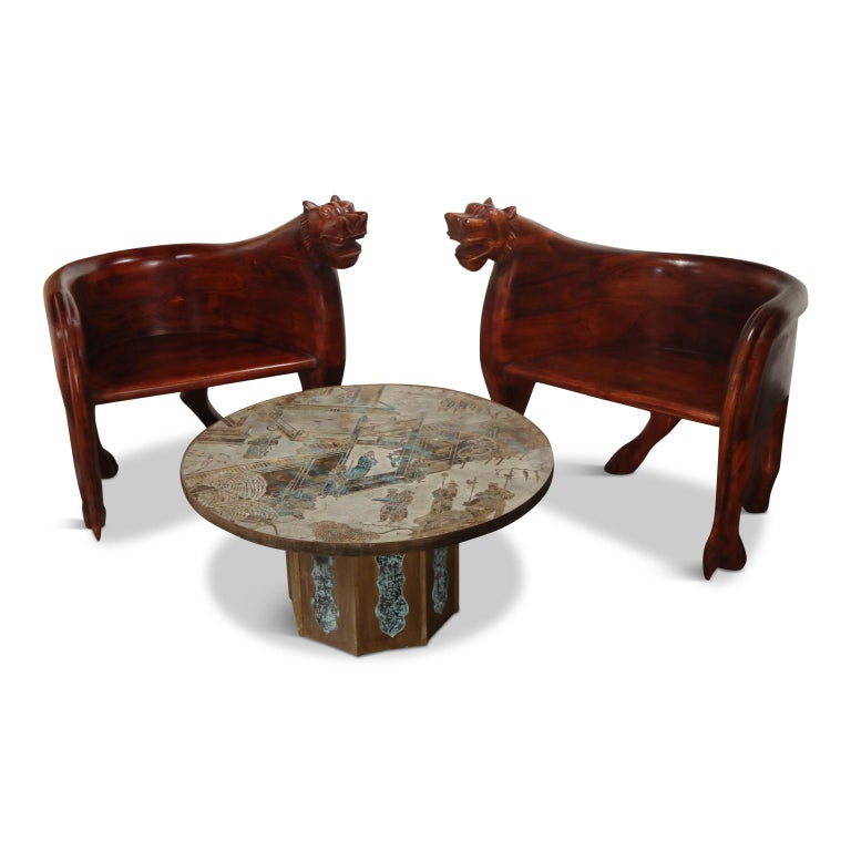 Tribal Figural Full Body Carved Teak Wood Lioness Club Chairs, Pair For Sale