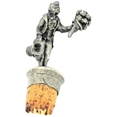 Figural Gentleman Metal Bottle Stopper Topper Barware, German, 1920s