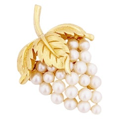 Figural Grapes Brooch With Pearls By Crown Trifari, 1960s
