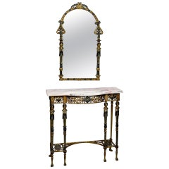 Figural Marble Bronze Console and Mirror in Manner of Oscar Bach