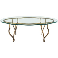 Figural Oval 3/4 Glass Gold Wrought Iron Base Coffee Table