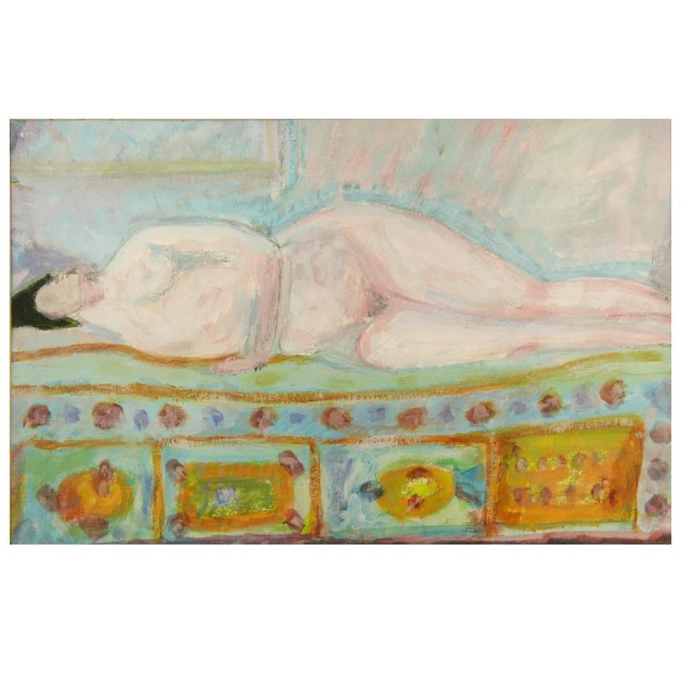 Figural Painting - Resting Blue Nude In Good Condition For Sale In Douglas Manor, NY