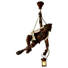 Figural Pendant Lamp of a Mountain Climber with a Lantern in Black Forest Style