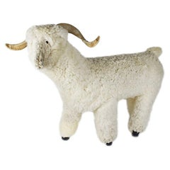 Figural Shearling Sheep Goat or Ram Sculpture or Bench After Claude Lalanne