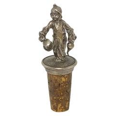 Figural Silver Munich Child Bottle Stopper Topper Barware, German, 1900s