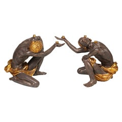 Figural Table Bases of Two Exotic Male Figures Paint and Gilt Composition, 20 C.
