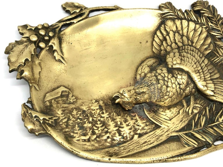 Arts and Crafts Figural  Bronze Catchall, Wood Grouse and Mountain Motif Antique, German, 1920s For Sale