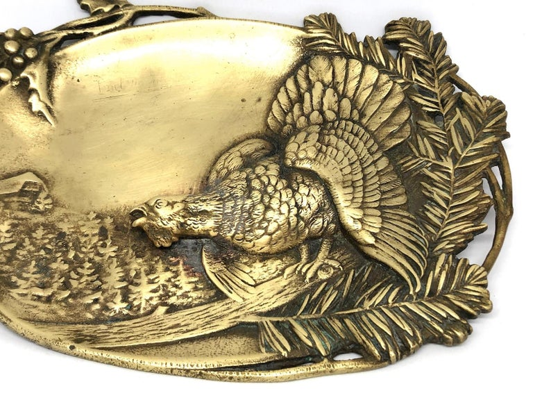 Italian Figural  Bronze Catchall, Wood Grouse and Mountain Motif Antique, German, 1920s For Sale