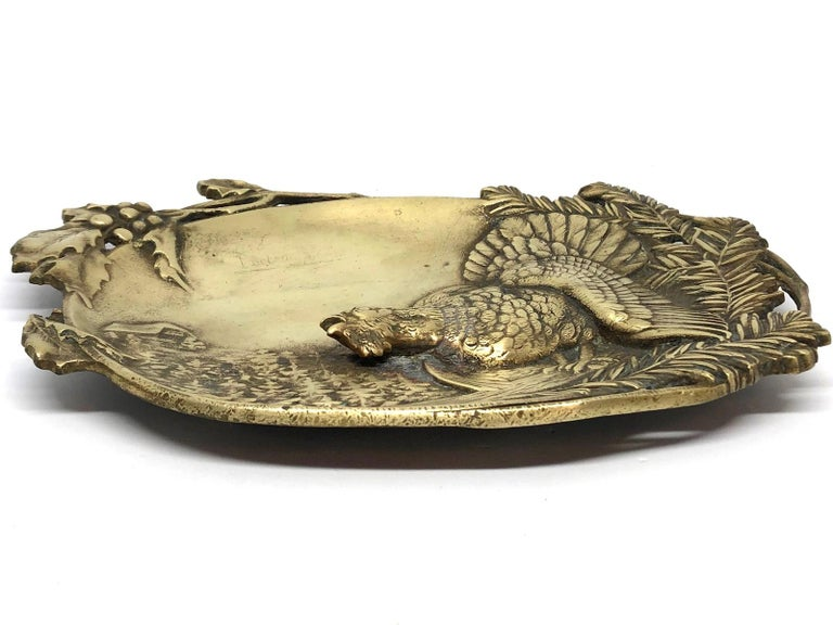 Figural  Bronze Catchall, Wood Grouse and Mountain Motif Antique, German, 1920s In Good Condition For Sale In Nürnberg, DE