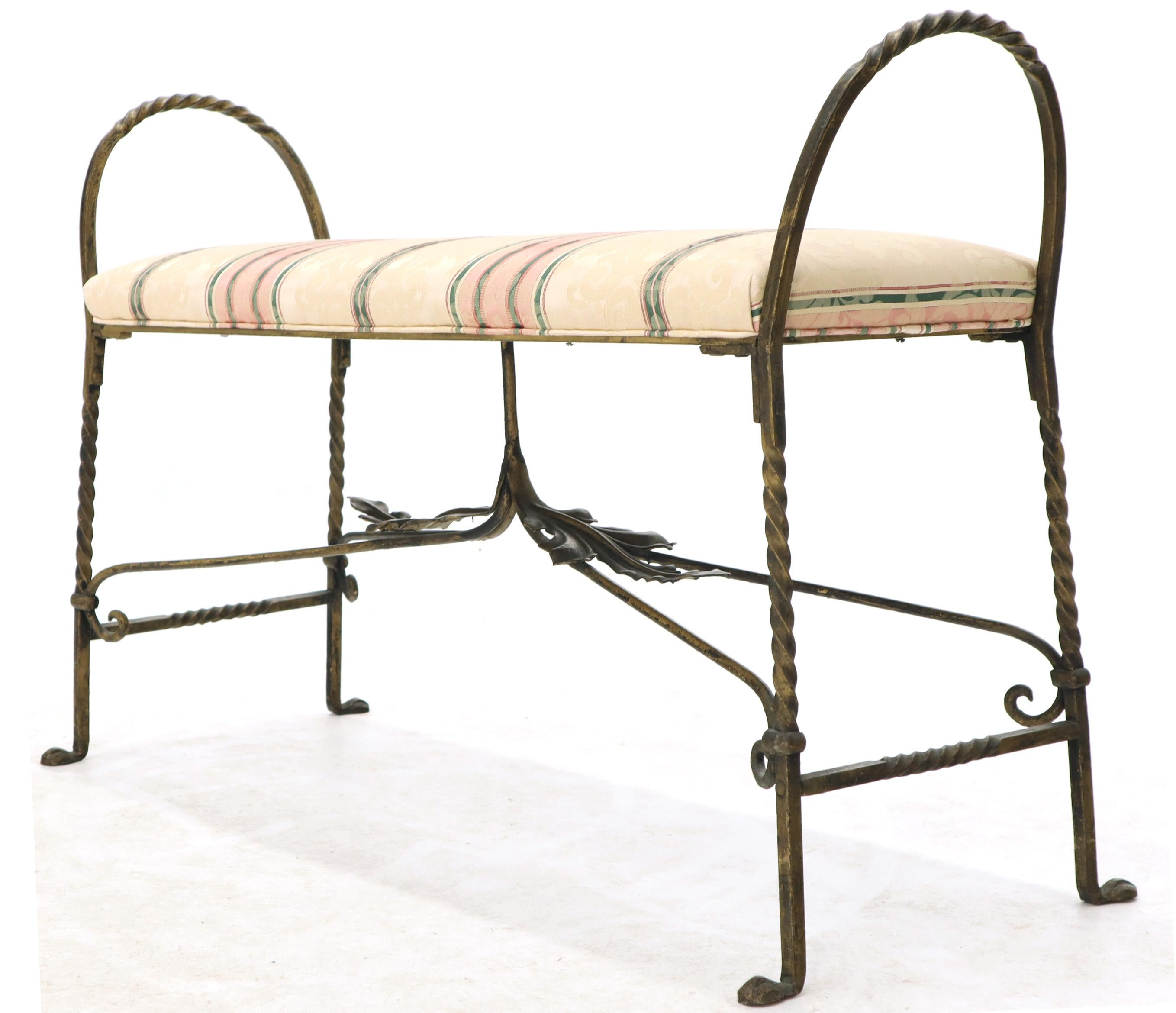 Admirable Figural Twisted Wrought Iron Window Bench Grape Leaf Motive Ibusinesslaw Wood Chair Design Ideas Ibusinesslaworg