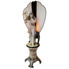 Figural Woman Floor Lamp with Panther on Column