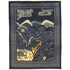 Figurative Antique Chinese Blue Wool Peking Carpet, ca. 1900