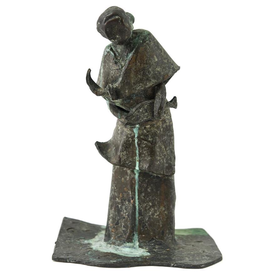 Figurative Bronze Abstract Fish Seller Sculpture