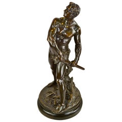 "Figurative Bronze Statue Titled ""Defense Du Foyer"" by Adrien Gaudez"