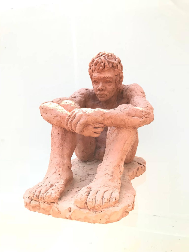 Figurative Clay Sculpture of a Seated Man For Sale 4