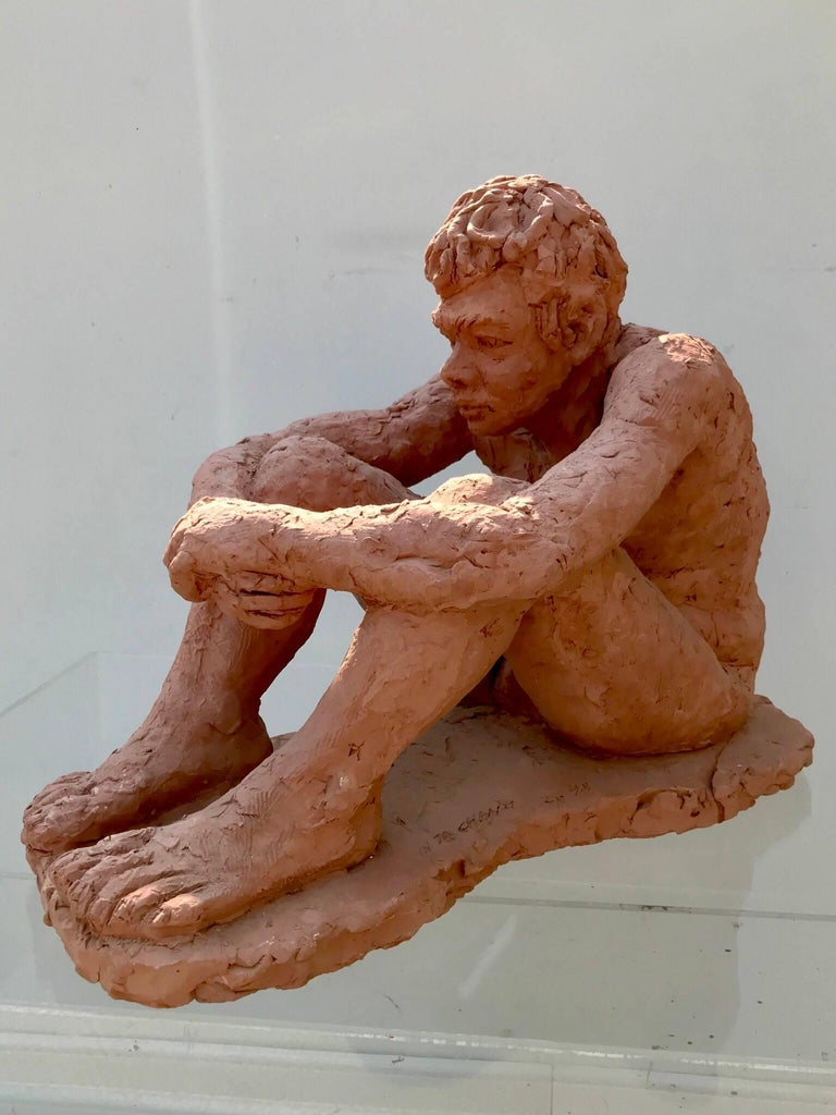 American Figurative Clay Sculpture of a Seated Man For Sale