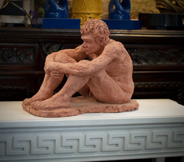 Modern Figurative Clay Sculpture of a Seated Man For Sale