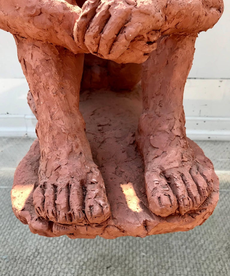Figurative Clay Sculpture of a Seated Man In Good Condition For Sale In Charlottesville, VA