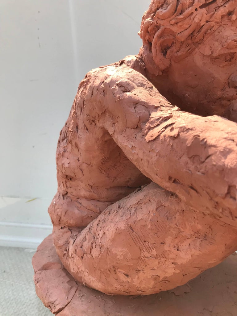 Figurative Clay Sculpture of a Seated Man For Sale 1