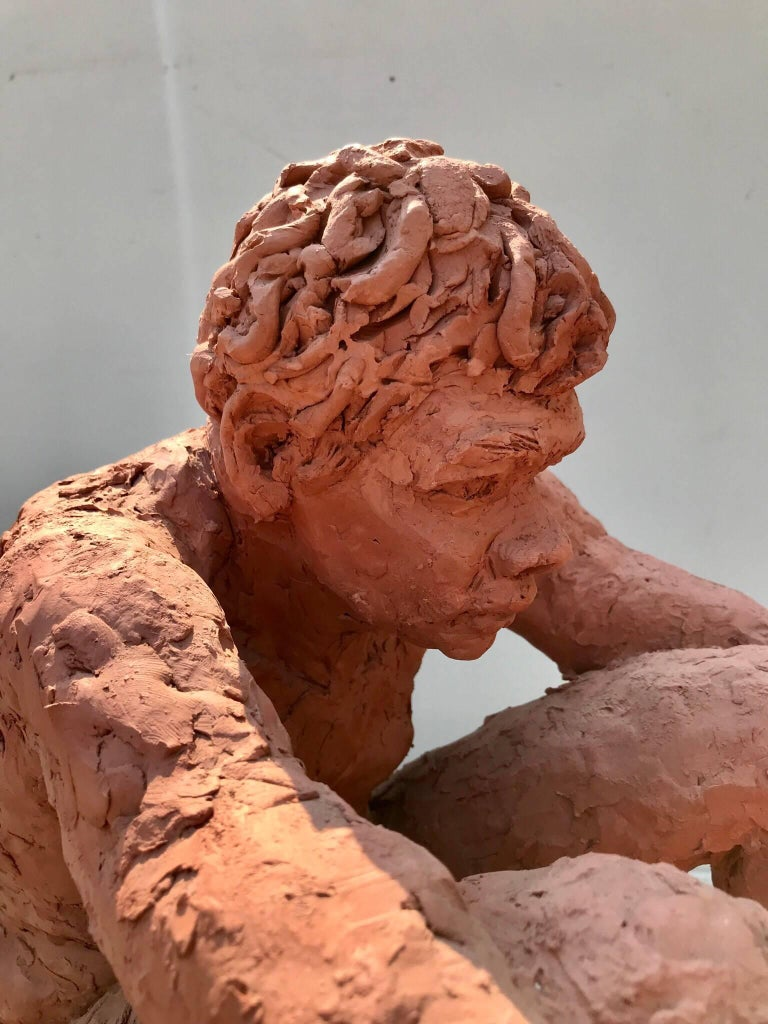 Figurative Clay Sculpture of a Seated Man For Sale 2