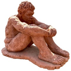 Figurative Clay Sculpture of a Seated Man