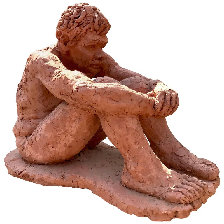 Figurative Clay Sculpture of a Seated Man For Sale