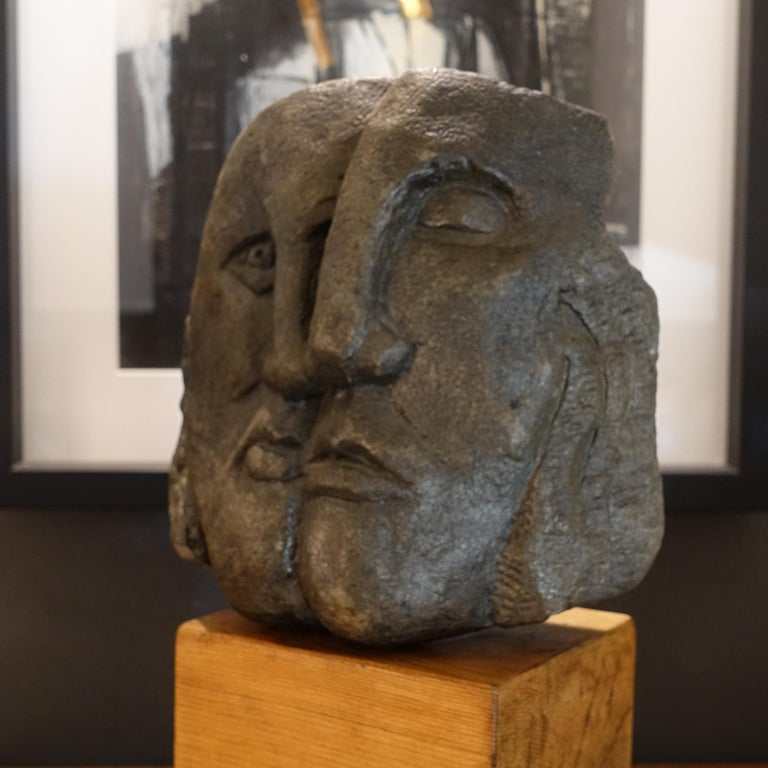 Modern Figurative Concrete Sculpture Picasso Style, Wood Base, Italy, circa 1980s For Sale