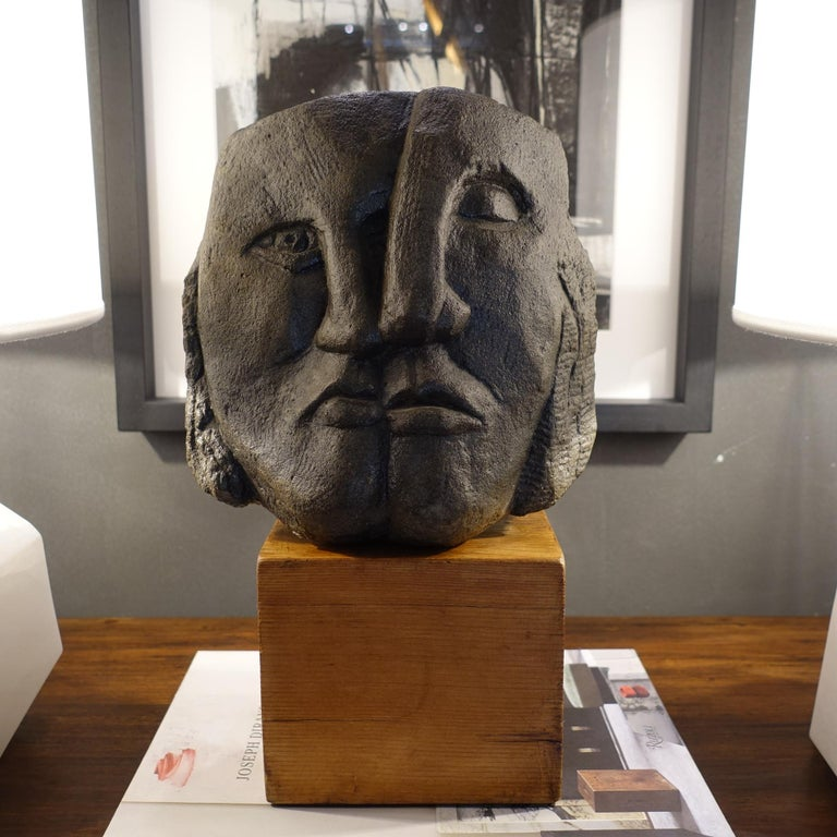 Late 20th Century Figurative Concrete Sculpture Picasso Style, Wood Base, Italy, circa 1980s For Sale