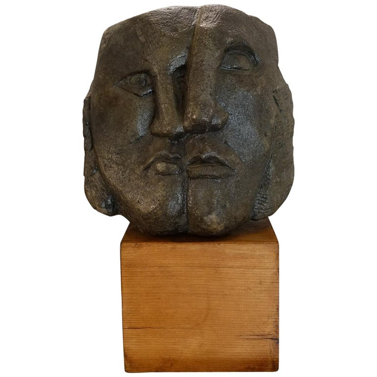 Figurative Concrete Sculpture Picasso Style, Wood Base, Italy, circa 1980s For Sale