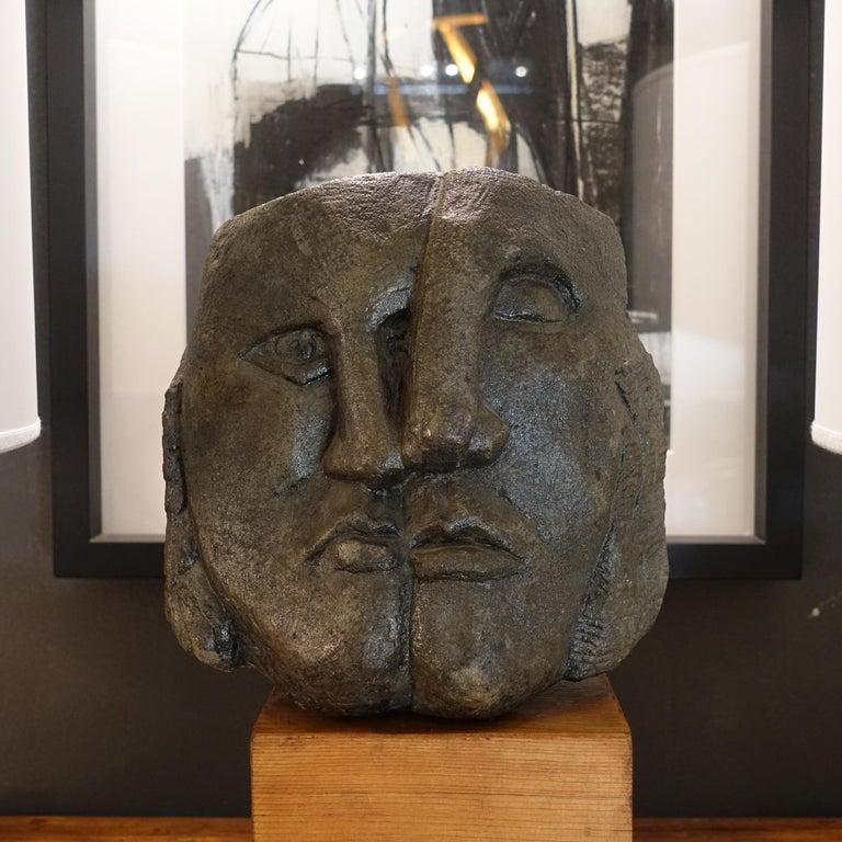 Figurative concrete sculpture Picasso style, wood base, Italy, circa 1980s.