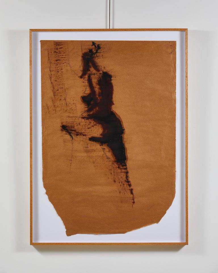 Framed in oak, figurative ink on paper art by Greg Lauren.