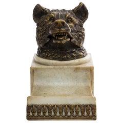 Figurative Inkwell, Bear, Gilded Bronze, 1920s