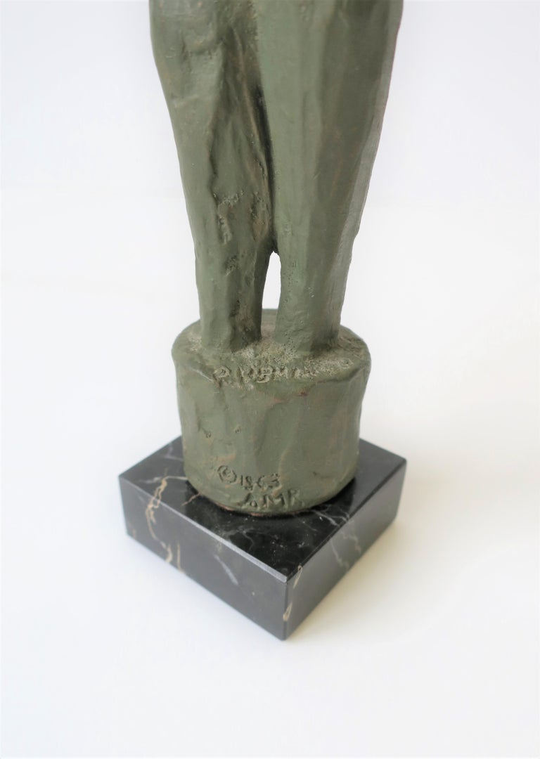 Male and Female Sculpture on Black Marble Base, circa 1960s For Sale 5