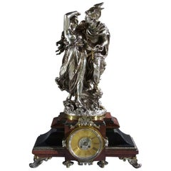 Figurative Neoclassical Silvered Bronze and Marble Clock Signed J.L Gregoire
