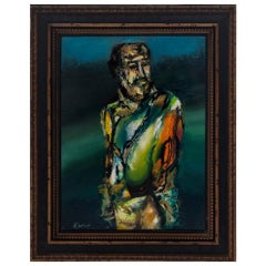 Figurative Oil Painting, Signed J. Flores