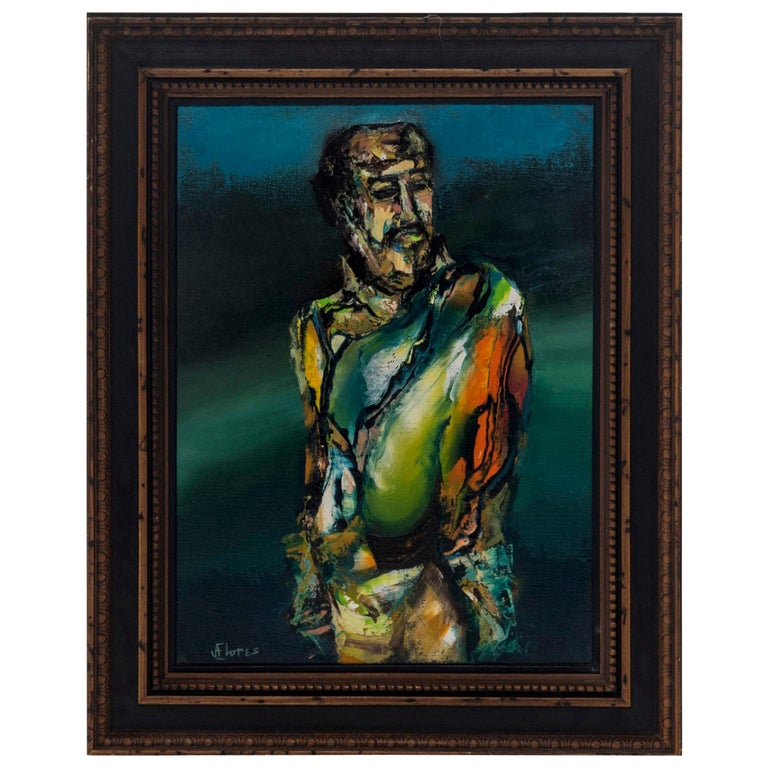 Figurative Oil Painting, Signed J. Flores For Sale