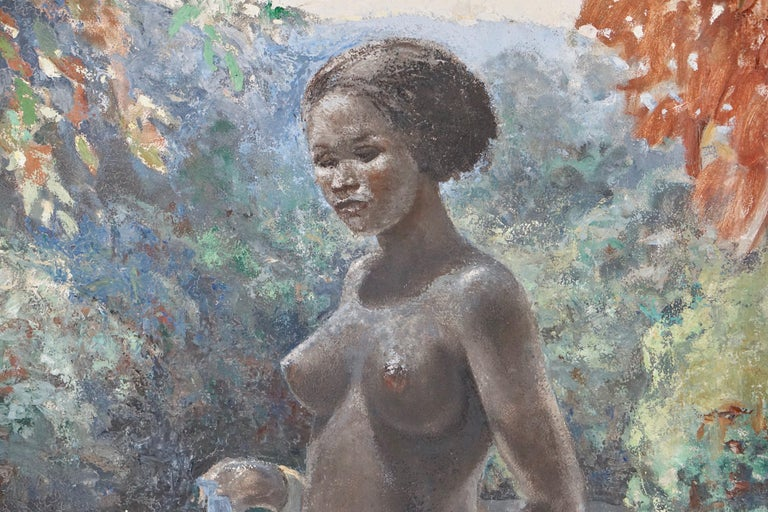 Painting by a nude African woman in Congo made by the Dutch painter Rob Francken. 49 x 69 cm unframed, 61 x 81 x 4 inches in white painted wood frame.