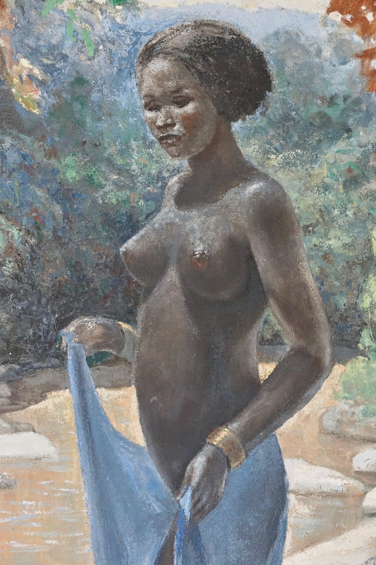 Mid-Century Modern Figurative Painting of a African Nude Woman by Rob Francken For Sale