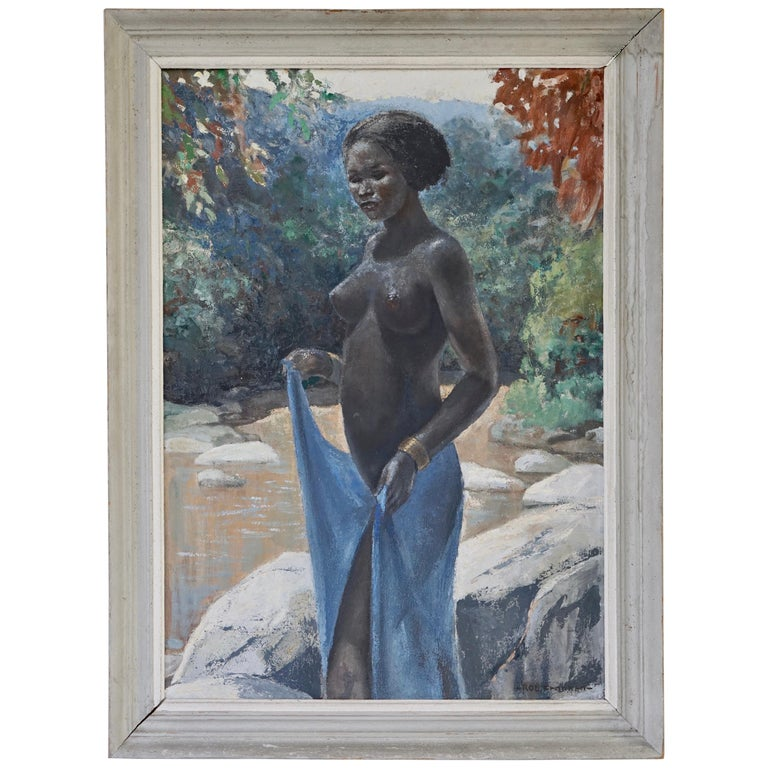 Figurative Painting of a African Nude Woman by Rob Francken For Sale