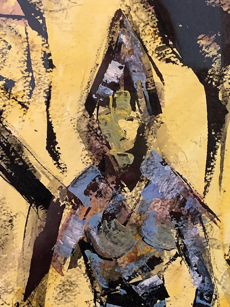 North American Figurative Painting on Yellow Paper by Leon Pierre Collard For Sale
