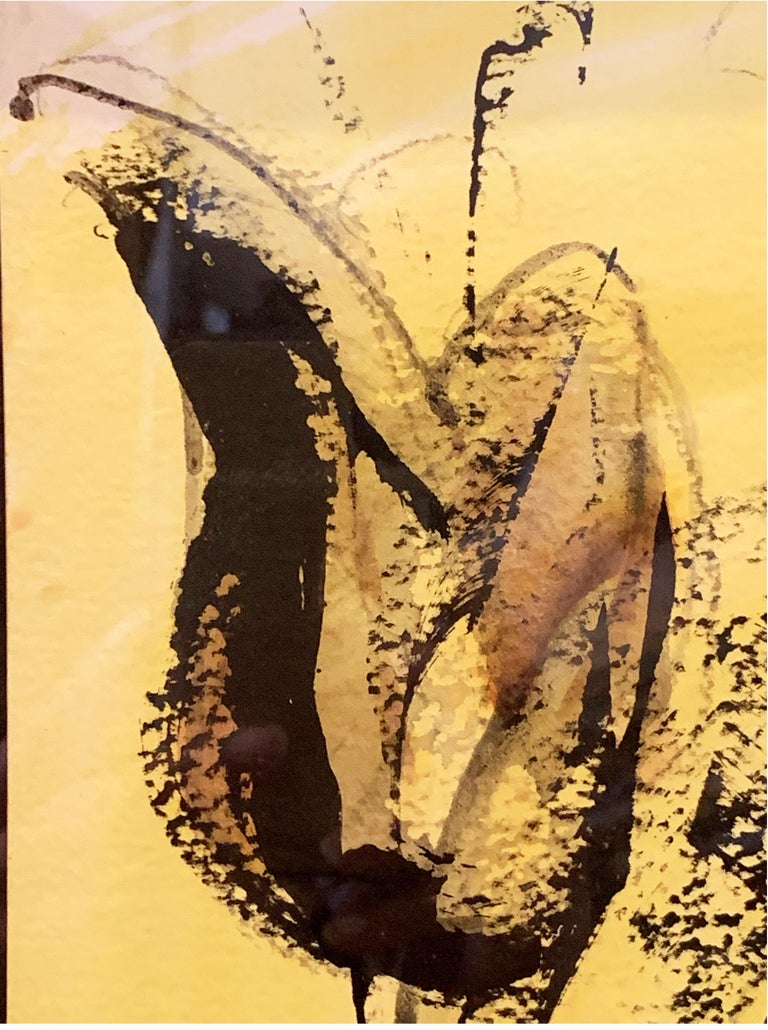20th Century Figurative Painting on Yellow Paper by Leon Pierre Collard For Sale