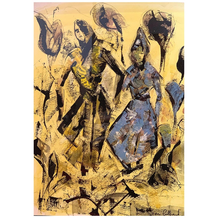 Figurative Painting on Yellow Paper by Leon Pierre Collard For Sale