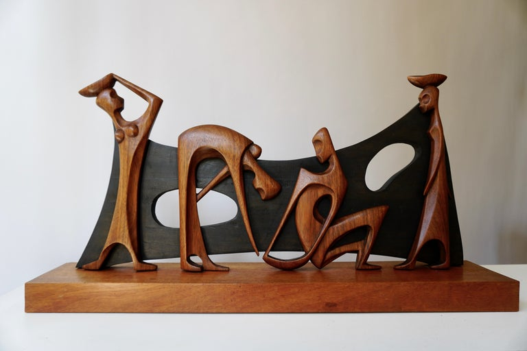 Hand-Carved Figurative Wooden Sculpture For Sale