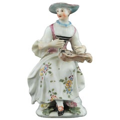 Figure Columbine with her Hurdy Gurdy, Bow Porcelain Factory, circa 1756