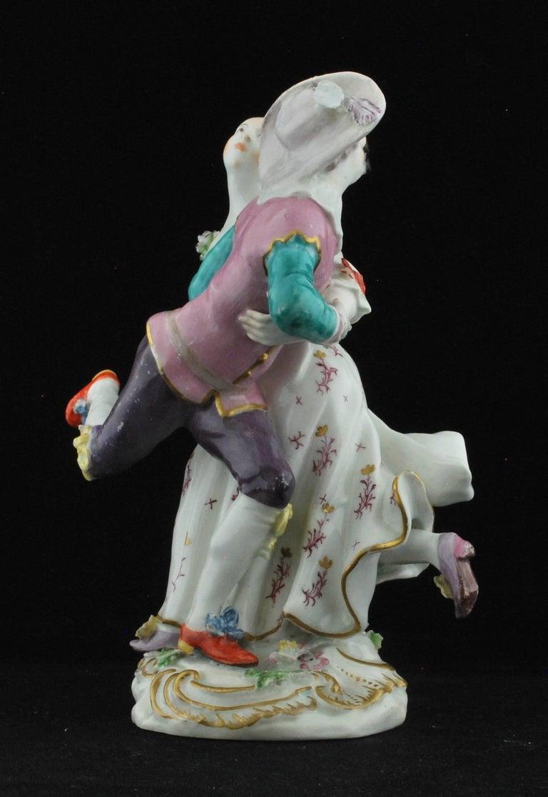 English Figure, Harlequine and Columbine, Commedia Dell'arte, Chelsea, circa 1756 For Sale